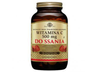 Solgar Witamina C żurawina-malina 90 pastylek