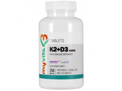 WITAMINA K2 MK7 100mcg + D3 2000iu 250 tab MyVita