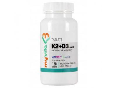 WITAMINA K2 MK7 100mcg + D3 2000iu 120 tab MyVita
