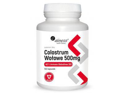 Colostrum Wołowe IG 40% 500 mg 100kaps. Aliness