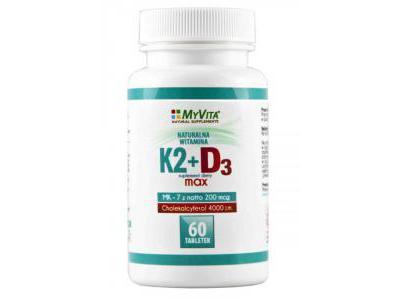WITAMINA K2 MK-7 200mcg + D3 max 60 tabl. MyVita